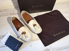 GUCCI Mystic White Leather Loafers Driving Flats Sz 36.5 UK 4 NEW WITH BOX!!