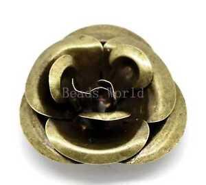 10 Pcs Bronze Tone Filigree Rose Flower Pendants Embellishments Findings 4x4cm