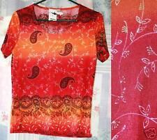 SUSAN LAWRENCE Orange Red Slinky Paisley Boho Stretch Knit T Tee Shirt Top S NWT