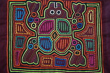 Vintage Kuna Mola Applique Indian Folk Art Fabric Panel Colorful Frog Motif 38B