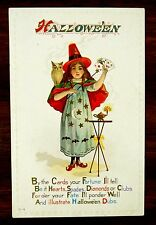 WITCH WAND & CARDS YOUR FORTUNE I'LL TELL Fantasy HALLOWEEN Postcard Nash H14