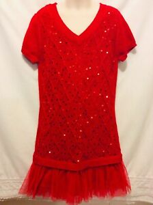 Justice Girl's Size 12 Bright Red Sweater Dress Sequin Accents Tulle Trim EUC