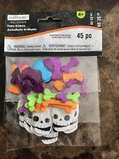 Halloween Creatology 45 Pc Foam Stickers - Bows, Bones & Skulls 💀 New