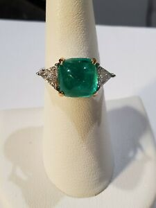 """18kw Gold Columbian Emerald """" Sugarloaf"""" Cabochon And Diamond Trillian Ring"""