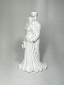 Navy Whites Officer Uniform Military Groom Bride Glazed White Wedding Caketop