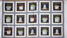 """Kitchen Pot Pan Vegetables Cooking Theme Cotton Fabric QT Cuisine 24""""X44"""" Panel"""