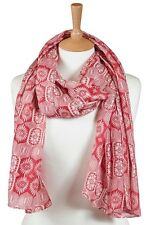 Quintessential Large Luxury Cotton/Silk Blend Scarf In Persia (red)