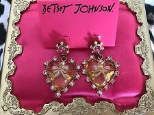 Betsey Johnson Vintage Ice Princess Lucite Heart Pink Bow Crystal Earrings RARE