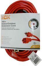 New HDX 100 ft. 16/3 Indoor Outdoor Extension Cord Outdoor Indoor Power Cable