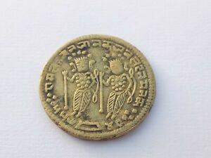 Ancient Antique Rare Brass Hindu God Ram Seeta Carved Coin Hand Made Collectible