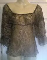 Ladies 3/4 sleeve pretty floaty brown top NAUGHTY designer Size 8 10 12 14