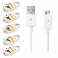 Pack of 5 White USB Micro Sync Cable Charger For Samsung Galaxy S7 Edge S7 S6 S4
