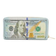 US Dollar USD $100 Currency Money Bill Print PU Leather Zip Around Wallet