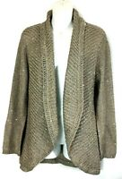 Chicos Cardigan Medium SZ 2 Open Front Loose Cable Knit Gold Sparkle Metallic