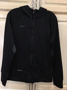 Women's Nike Lightweight Hooded Jacket Size L Black Athletic Wear Full Zip