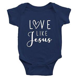 Baby Bodysuit Love Like Jesus Infant Rib Clothes Shower Gift Christ Christian