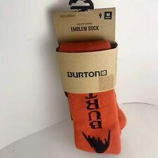 Burton's Men's Emblem Snowboard Sock Size Large Orange Black New Winter Warm