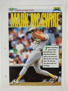 Vintage 1993 Mark McGwire MLB Baseball Oakland A's Sports Pages Bio Picture