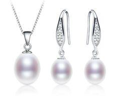 925er Sterling Silber Set Halskette Anhänger Ohrhänger Ohrringe Süßwasser Perle