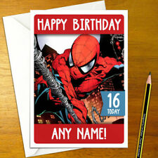 SPIDERMAN Personalised Birthday Card - super hero personalized spider man comic