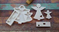 Moule en Silicone Double Anges sur socles avec coeur 19x17cm pour Platre Argile