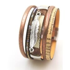 Multi-Layer  Leather Magnetic Bracelet with Silver Tone Leaf Charm