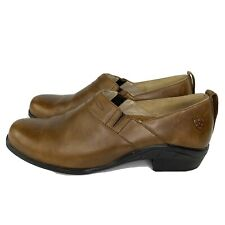 ARIAT 52326 Leather Carmel Brown Slip On clogs Booties Womens Sz 8