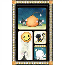 Charmed Halloween Mice, Cat, Ghost Large 100% Cotton Fabric By The Panel