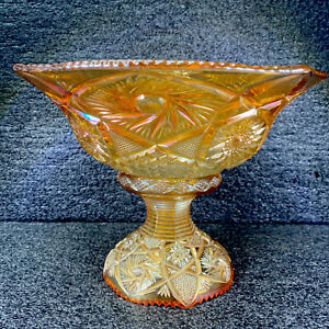 Rare Antique US Glass Co Whirling Star Carnival Glass Marigold Punch Bowl/Stand