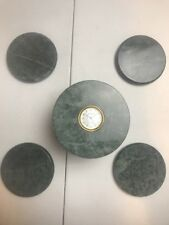 Vintage Benchmark Green Marble Coaster With Holder Set Quartz Clock on Top A1