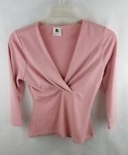 International Newport Group Womens Blouse Medium Pink V Neck 3/4 Sleeve Top