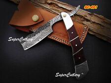 Custom Handmade Damascus Razor hammered blade with  Rose Wood and steel bolster