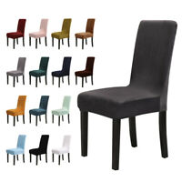 1/4/6 pcs Spandex Stretch Velvet Dining Chair Covers Seat Protector Slipcovers