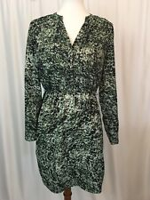 Charlie Jade Womens Shirt Dress V Neck Long Sleeves Green Black Abstract Size S