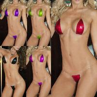 Women's Invisible Strap Metallic Lingerie Swimwear Exotic Micro G-String Bikini