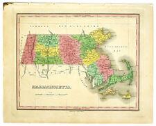1824 MASSACHUSETTS FINLEY ANTIQUE HAND-COLORED MAP