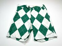 Loudmouth Men's Golf Shorts Flat Front Argyle Green White Size 32