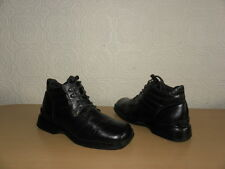 Vintage Black Leather LOIS Lace Up Military Biker Casual Ankle Boots Size 40 / 6