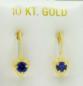 TANZANITE 0.59 Cts EARRINGS 10K YELLOW GOLD  * Made in USA * NEW WITH TAG