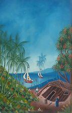 Vintage Frantz Remy Haitian Naif Art Caribbean Scenic Village Painting Haiti