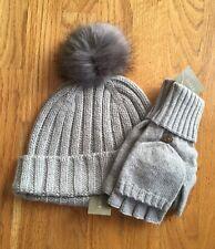 82933cc8a92 NWT J Crew Women s Ribbed Beanie Hat w Faux-Fur Pom-Pom   Glittens