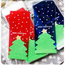 100pcs/lots Embalaje Bolsas de Galletas de Navidad Árbol Bolso Regalo