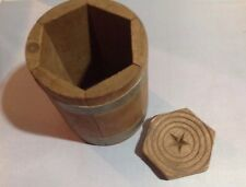 Antique New England C. 1850 Butter Mold Press Wooden Carved Cylinder Star Rare