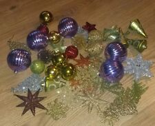44 Multicoloured Glittery Baubles Star Tree Bell Round Golden Yellow Purple