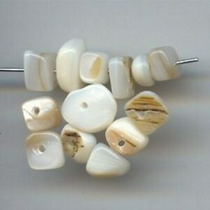 24 VINTAGE GENUINE MOTHER OF PEARL ASSORTED NUGGET BEADS 6509