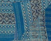 Kantha Quilt Cotton Handmade Blue Indigo - Bedspread Blanket Coverlet