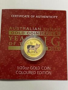 2019 1/20 oz Colourized Australian Lunar Year of Pig Gold Coin Perth Mint 99.99%