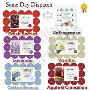 OPELLA scented tea lights pack of 15 various scents candles tealights Fast Post