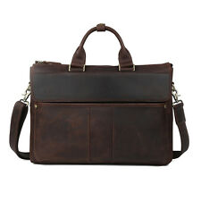 Men's Retro Genuine Leather Messenger Shoulder Bag Laptop Case Briefcase Attache