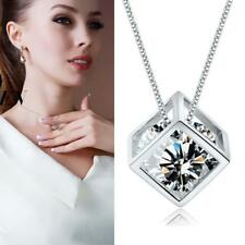 Fashion Women Lady Sterling Silver Chain Crystal Pendant Necklace Jewelry WT